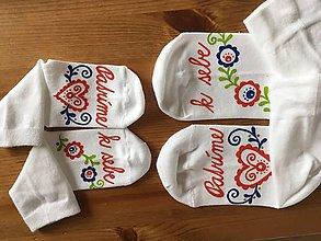 """Obuv - Maľované folk ponožky pre mamku a dcéru s nápisom """"Patríme k sebe"""" - 10557842_"""