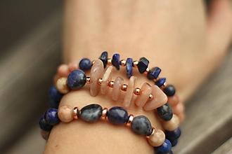 Náramky - TRIO náramky z minerálov lapis lazuli, slnečný kameň - 10557526_