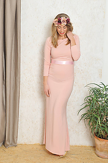 Šaty - Dlhé šaty s riasením - Alex, svadobné - pudrové - 10556839_