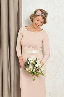 Šaty - Dlhé šaty s riasením - Alex, svadobné - champagne - 10556855_