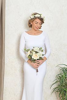 Šaty - Dlhé šaty s riasením - Alex, svadobné - biele - 10556864_