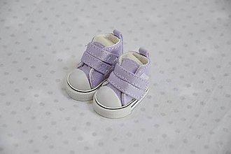 Hračky - Plátené tenisky pre bábiku fialové - 10560591_