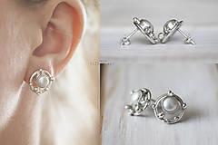Náušnice - Strieborné napichovacie náušnice s perlami - Bokeh Pearl - 10561257_