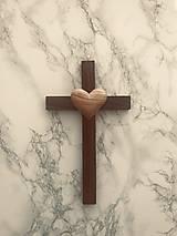 Dekorácie - Svadobný krížik , drevený krížik (Drevený krížik svadobný - orech/tuja) - 10563295_