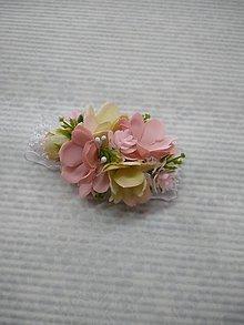 Pierka - náramok pre družičky púdrovo-ružový - 10561658_