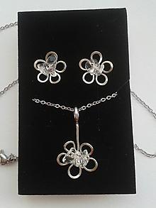 Sady šperkov - Souprava 3D KVĚTINA - chirurgická ocel - Křišťál - 10560438_