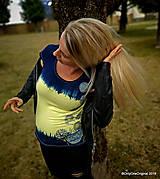 Topy, tričká, tielka - Dámske tričko batikované, maľované, etno  PRVOSIENKY - 10560721_
