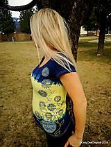 Topy, tričká, tielka - Dámske tričko batikované, maľované, etno  PRVOSIENKY - 10560728_