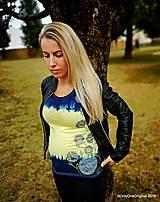 Topy, tričká, tielka - Dámske tričko batikované, maľované, etno  PRVOSIENKY - 10560741_