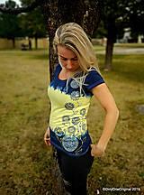 Topy, tričká, tielka - Dámske tričko batikované, maľované, etno  PRVOSIENKY - 10560758_