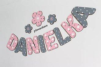 Tabuľky - DANIELKA ružovo šedé dievčenské meno z dreva - 10562482_