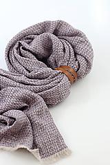 - Veľký vzorovaný ľanový pléd fialovej farby  (s koženým remienkom) - 10561913_