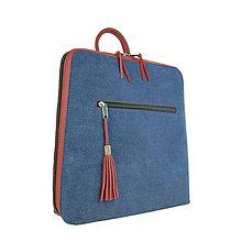 Batohy - Dámsky ruksak z talianskej prírodnej hovädzej kože, imitácia rifloviny - 10562567_