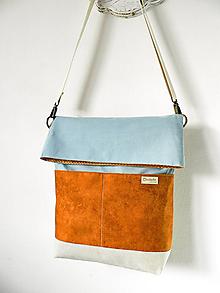 Veľké tašky - Foldover taška hnedo-sivozelená - 10560358_