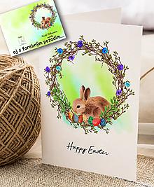 Papiernictvo - Veľkonočný pozdrav / pohľadnica (Zajačik 1 - dvojhárok) - 10562385_