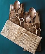 Úžitkový textil - jutové púzdro na príbor - 10561228_