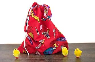 Úžitkový textil - Veľkonočné vrecúško so zajačikmi (Červené s bielou šnúrkou) - 10561982_