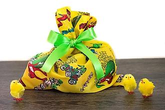 Úžitkový textil - Veľkonočné vrecúško so zajačikmi (Žlté so zelenou stuhou) - 10561986_