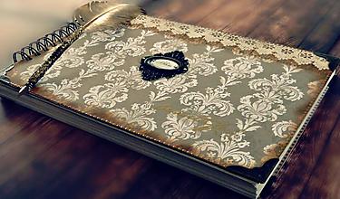 Papiernictvo - Vintage svadobná kniha a svadobný fotoalbum v jednom/rodinný album/kronika LOVE-Čipka A4 maxi - 10562092_