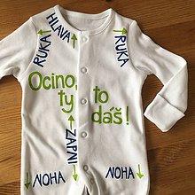 Detské oblečenie - Maľované pyžamko s návodom na použitie pre ocka :) - 10562943_