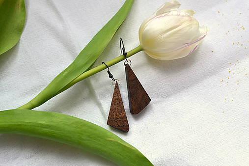 Náušnice - Orechové trojuholníčky I.
