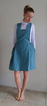 Sukne - Tyrkysová ľanová sukňa na traky - 10562091_
