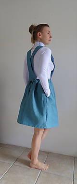 Sukne - Tyrkysová ľanová sukňa na traky - 10562095_