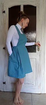 Sukne - Tyrkysová ľanová sukňa na traky - 10562097_