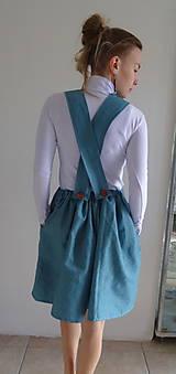 Sukne - Tyrkysová ľanová sukňa na traky - 10562098_