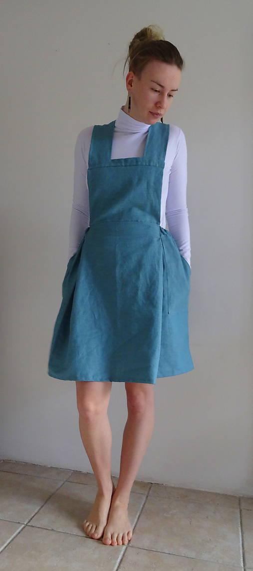 Tyrkysová ľanová sukňa na traky