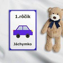 Papiernictvo - Minimalistické míľnikové kartičky (autíčko) - 10562154_