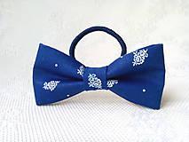 Ozdoby do vlasov - Dark blue folklore hair bow - 10565632_