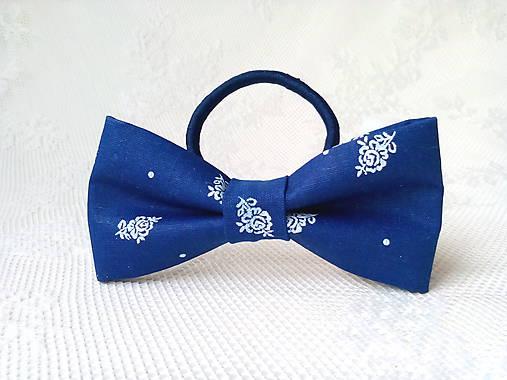 Dark blue folklore hair bow