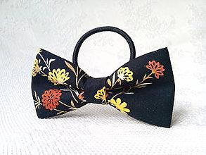 Ozdoby do vlasov - Romantic hair bow (black/flowers) - 10565540_