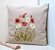 Úžitkový textil - Vankúš-ručne maľovaný-Vlčí mak a margaréty - 10565570_