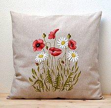 Úžitkový textil - Vankúš-ručne maľovaný-Vlčí mak a margaréty - 10565572_