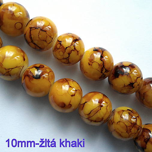 Sklenené potiahnuté korálky (10mm-žltá khaki-10ks)