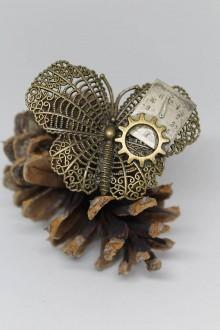Odznaky/Brošne - Steampunková brož - velký motýl - 10565793_