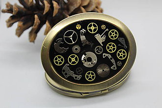 Zrkadielka - Oválné zrcátko černé I. - 10565922_