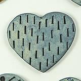 Odznaky/Brošne - Brošňa keramická srdce 5 x 4,5 cm - rôzne (Srdce patinované 4) - 10565285_