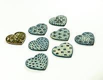Brošňa keramická srdce 5 x 4,5 cm - rôzne