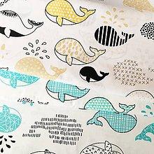 Textil - veľryby; 100 % bavlna, šírka 160 cm, cena za 0,5 m - 10565026_