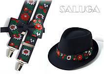 Set - pánsky klobúk, folklórny motýlik a traky - čierny - folk