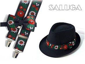 Doplnky - Set - pánsky klobúk, folklórny motýlik a traky - čierny - folk - 10566065_