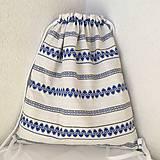 Batohy - Športový batoh ľudový bielo modrý - 10564171_