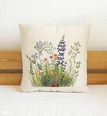 Úžitkový textil - Maľovaná návliečka (krémová) poľné kvety - 10564557_