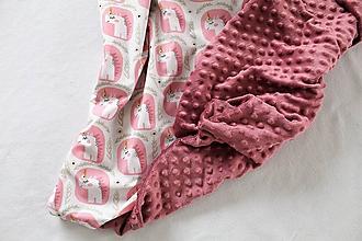 Textil - Minky deka Jednorožce - viac farieb na výber, 100x70cm - 10566189_
