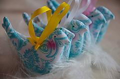 Dekorácie - Vtáčiky mix tyrkys - 10566506_