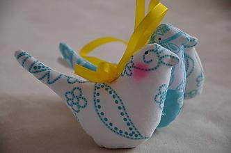 Dekorácie - Vtáčik mix bielotyrkysové - 10566232_
