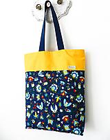 Nákupné tašky - Taška folk modro-žltá - 10566263_
